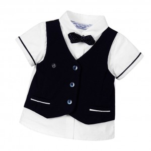 MAYORAL NEWBORN Baby Boys Blue Waistcoat with Shirt Layer
