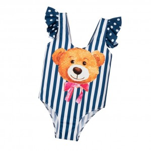 MC2 ST BARTH Girls Blue & White Teddy Bear Swimsuit