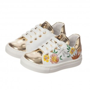 MISSOURI Girls White Leather Embroidered Trainers