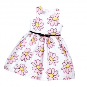 MONNALISA BIMBA Girls Pink Floral Cotton Dress