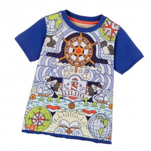 OILILY Boys Blue Nautical Print T-Shirt