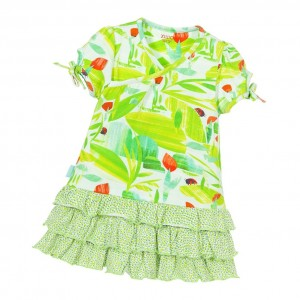 OILILY Girls Green Ladybug Dress