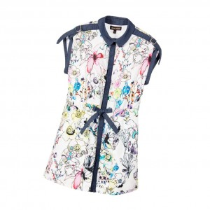 ROBERTO CAVALLI Girls Ivory Floral & Chambray Dress
