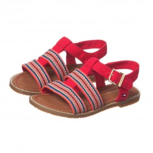 TOMMY HILFIGER Girls Pink Canvas Sandals