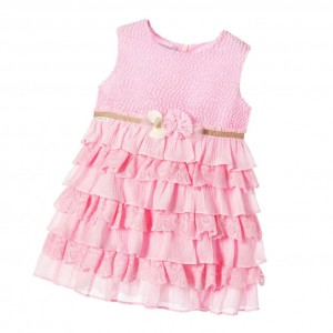 TUTTO PICCOLO Girls Pink Dress with Ruffles
